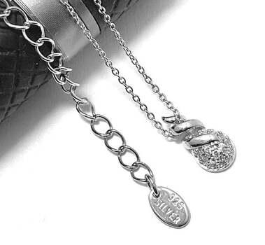 ".925 Sterling Silver, 0.08ct Diamonique Diamond ""Drop"" Pendant Necklace"