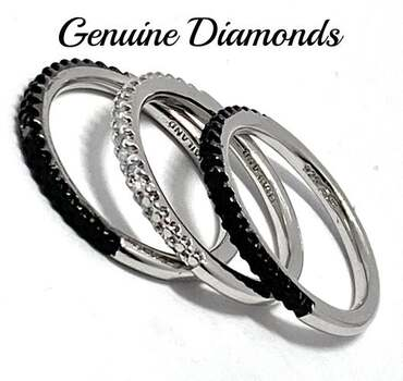 .925 Sterling Silver, 0.10ct Genuine Diamond Set of 3 Rings Size 6
