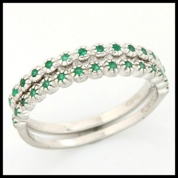 .925 Sterling Silver, 0.15ctw Emerald Set of Two Rings sz 6.5