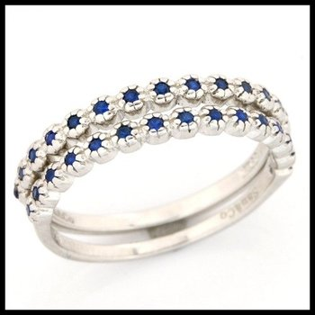 .925 Sterling Silver, 0.15ctw Sapphire Set of Two Rings sz 6
