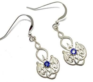 .925 Sterling Silver, 0.15t Sapphire Drop Earrings