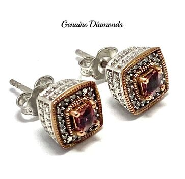 .925 Sterling Silver 0.20ct Genuine Rhodolite & 0.15ct Genuine Diamond Stud Earrings