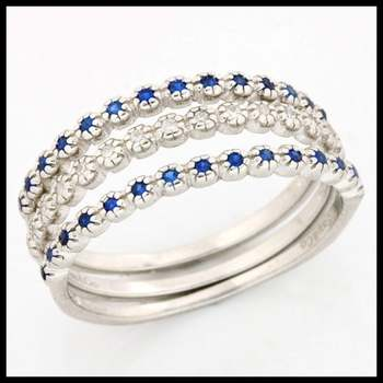 .925 Sterling Silver, 0.22ctw Blue & White Sapphire Set of Three Rings sz 7