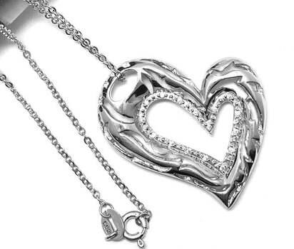 .925 Sterling Silver 0.25ct Diamonique Heart Necklace