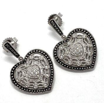 .925 Sterling Silver 0.25ct Genuine White Topaz Antique Design Earrings