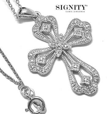 """.925 Sterling Silver, 0.25ct """"SIGNITY STAR"""" Cubic Zirconia Cross Necklace"""