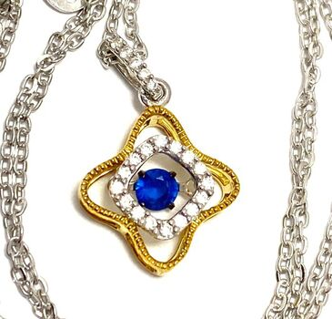 ".925 Sterling Silver 0.35ctw Blue & White Diamonique ""Dancing Diamond"" Design Necklace"