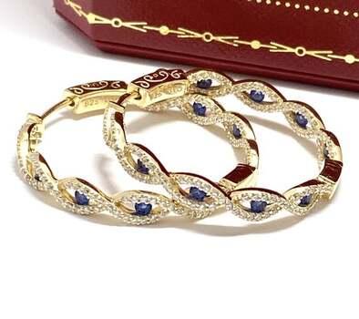 .925 Sterling Silver, 0.35ctw Sapphire & 0.40ctw Diamonique Inside-Out Womans Hoop Earrings