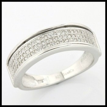 .925 Sterling Silver, 0.40ctw (AAA Grade) CZ's Ring size 10 3/4