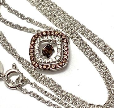 """.925 Sterling Silver 0.40ctw Chocolate & White Diamonique """"Dancing Diamond"""" Chocolate Collection Necklace"""