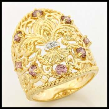 .925 Sterling Silver, 0.41ctw Pink Sapphire & (AAA Grade) CZ's Ring size 7