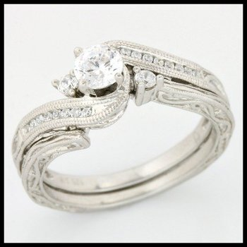 .925 Sterling Silver, 0.47ctw (AAA Grade) CZ's Set of Two Rings sz 7
