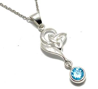 .925 Sterling Silver, 0.50ct Blue Topaz Necklace