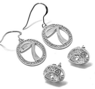 .925 Sterling Silver, 0.50ct Diamonique Diamond Lot of 2 Pair of Earrings