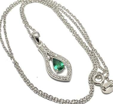 .925 Sterling Silver, 0.50ct Emerald & 0.35ct White Topaz Necklace