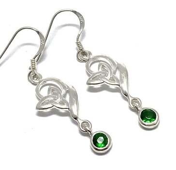 .925 Sterling Silver, 0.50ct Emerald Dangle Earrings