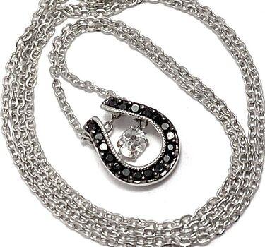 """.925 Sterling Silver 0.50ctw Black & White Diamonique """"Dancing Diamond"""" Design Necklace"""