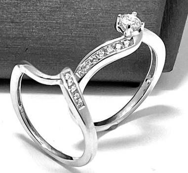 .925 Sterling Silver, 0.65ct Diamonique Diamond Set of 2 Rings