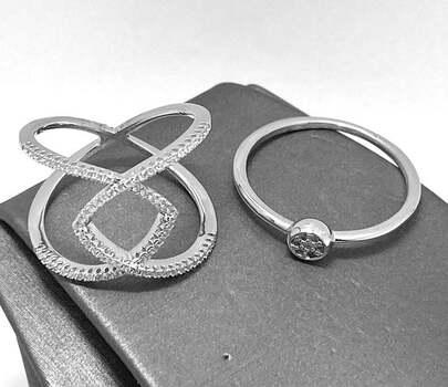.925 Sterling Silver, 0.75ct Diamonique Diamond Lot of 2 Rings