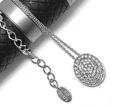 """.925 Sterling Silver, 0.75ct Diamonique Diamond """"Oval"""" Pendant Necklace"""