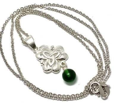 .925 Sterling Silver, 0.75ct Emerald Necklace