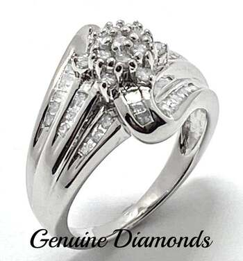 .925 Sterling Silver, 0.75ct Genuine Diamond Ring Size 6
