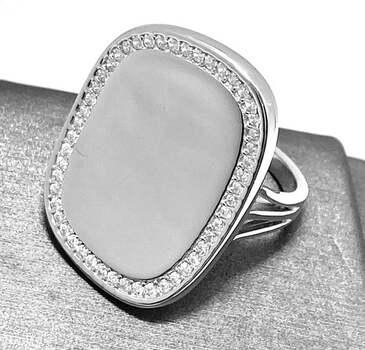 .925 Sterling Silver, 0.75ct Round Cut Diamonique Diamond Cocktail Ring