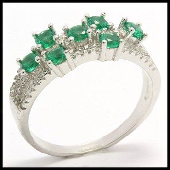.925 Sterling Silver, 0.75ctw Emerald & (AAA Grade) CZ's Ring size 6