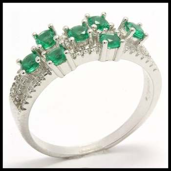 .925 Sterling Silver, 0.75ctw Emerald & (AAA Grade) CZ's Ring size 7