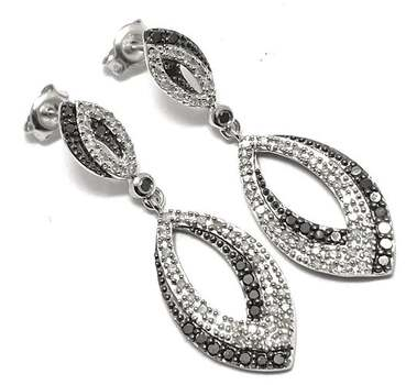 .925 Sterling Silver, 0.75ctw Natural Diamond Earrings
