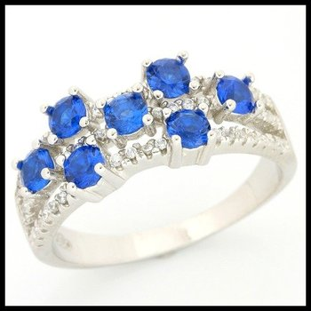 .925 Sterling Silver, 0.75ctw Sapphire & (AAA Grade) CZ's Ring size 6