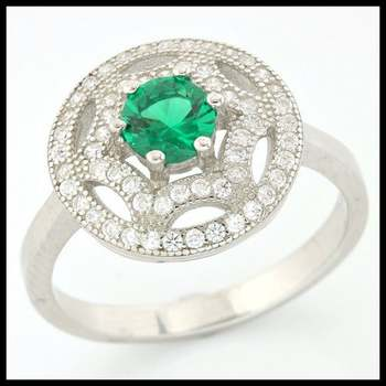 .925 Sterling Silver, 0.78ctw Emerald & (AAA Grade) CZ's Ring sz 7
