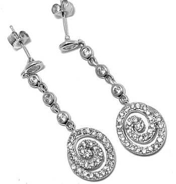 .925 Sterling Silver, 1.00ct Diamonique Diamond Drop Earrings
