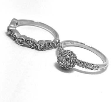 .925 Sterling Silver, 1.00ct Diamonique Diamond Lot of 2 Rings
