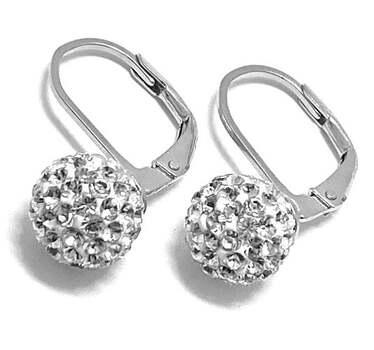 .925 Sterling Silver, 1.00ct Swarovski Crystal, Lever Back Crystal Ball Earrings