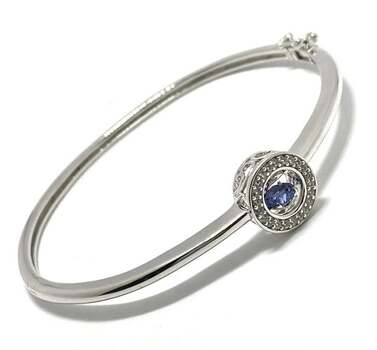 ".925 Sterling Silver, 1.00ct Tanzanite & 0.50ct White Topaz ""Dancing Tanzanite"" Bangle Bracelet"