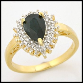 .925 Sterling Silver, 1.00ctw Black Sapphire & (AAA Grade) CZ's Ring sz 8