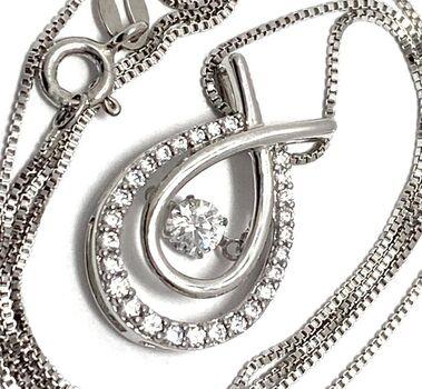 """.925 Sterling Silver 1.00ctw White Diamonique """"Dancing Diamond"""" Design Necklace"""