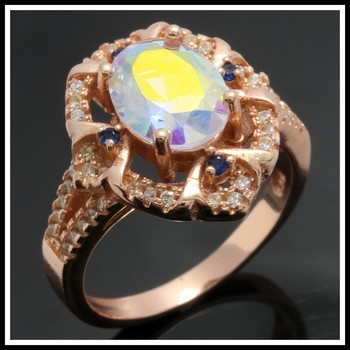 .925 Sterling Silver 10K Rose Gold Plated, 2.96ctw Mystics Topaz, Blue & White Sapphire Ring Size 7