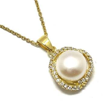 .925 Sterling Silver, 10mm Natural Fresh Water Pearl & 0.35ct AAA Grade CZ's Necklace