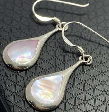.925 Sterling Silver, 10x8mm Pink Mother of Pearl Dangle Earrings