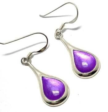 .925 Sterling Silver, 10x8mm Purple Mother of Pearl Dangle Earrings