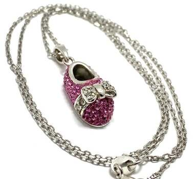 """.925 Sterling Silver, 1.10ct Pink & White Swarovski Crystal """"Baby Boot"""" Necklace"""