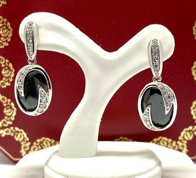 .925 Sterling Silver 11.20ct Black Spinel & White Topaz Earrings