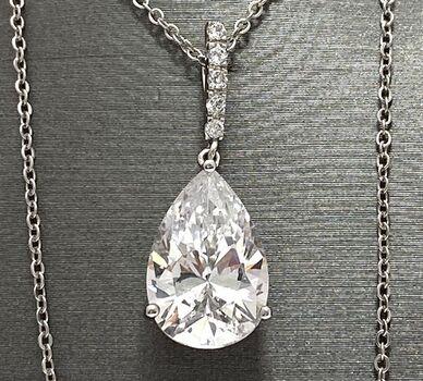 .925 Sterling Silver 12.00ctw Diamonique Necklace
