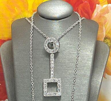 .925 Sterling Silver 1.20ctw Diamonique Necklace