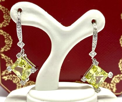 .925 Sterling Silver, 12.15ctw Peridot & White Topaz Earrings
