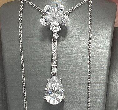 .925 Sterling Silver 12.50ctw Diamonique Necklace
