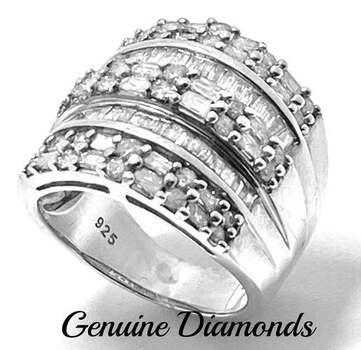 .925 Sterling Silver, 1.25ct Genuine Diamond Ring Size 7