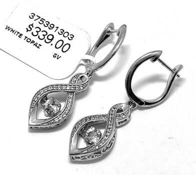 ".925 Sterling Silver, 1.25ct White Topaz ""Dancing Diamond"" Drop Earrings"